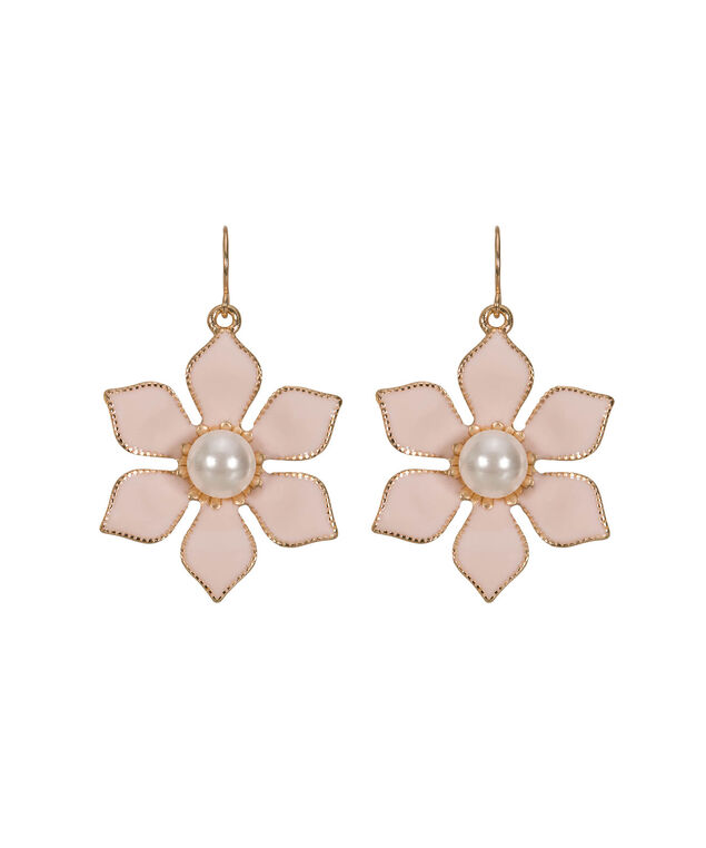 Misty Pink & Pearl Flower Drop Earring, Misty Pink/White/Gold, hi-res