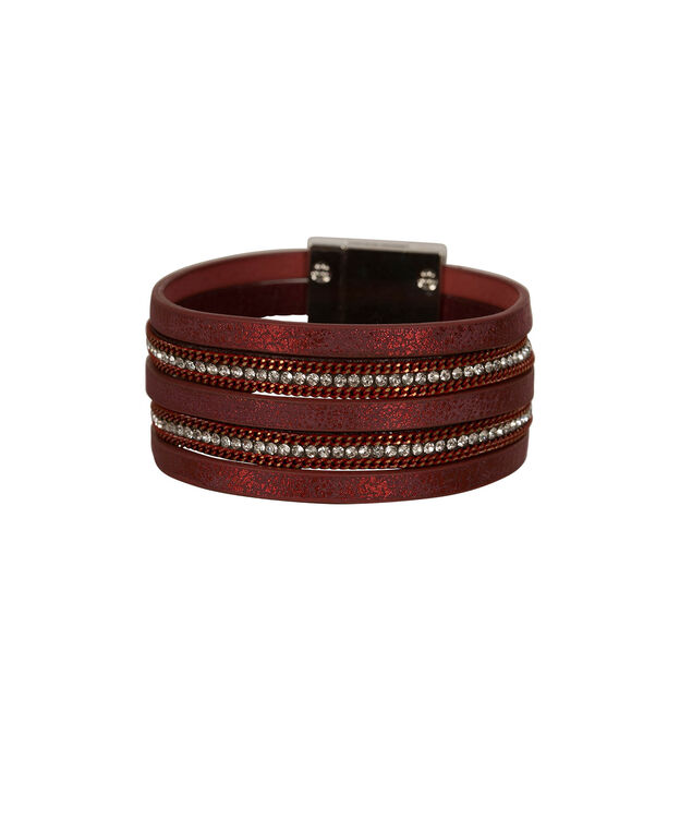 Multi-Row Crystal & Chain Faux Leather Bracelet, Port/Rhodium, hi-res