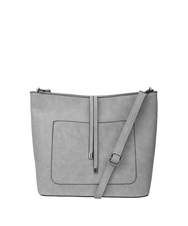 Tassel Front Bucket Bag, Light Grey, hi-res
