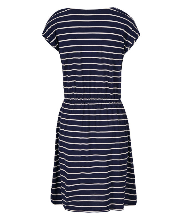 Extended Sleeve Striped Tee-Shirt Dress, Blue/White Stripes, hi-res