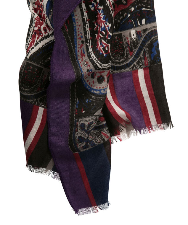 Oversized Paisley Scarf, Cream/Cranberry/Grey/Blue, hi-res