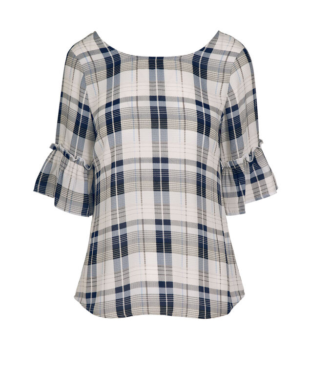 Plaid Flounce Sleeve Blouse, Blue Plaid, hi-res