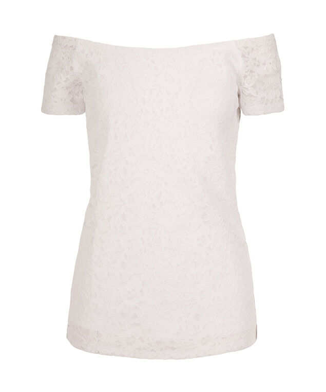 Off the Shoulder Lace Top, White, hi-res