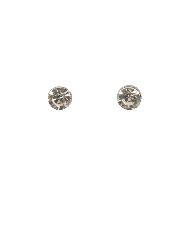 Glitter Circle Front-Back Earrings, Silver/Rhodium, hi-res