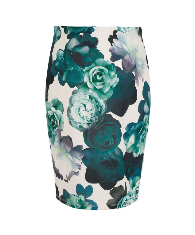 Floral Scuba Pencil Skirt, Midnight Teal Print, hi-res
