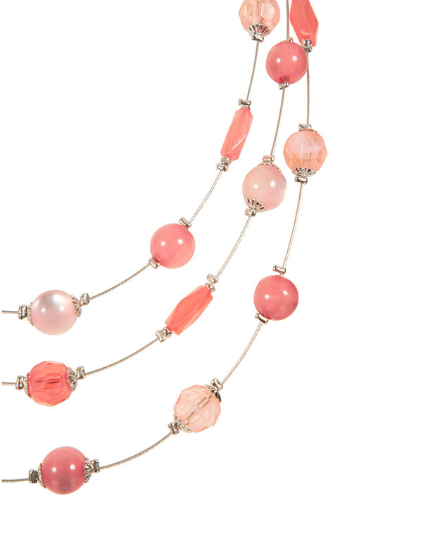 Triple Strand Bead Wire Necklace, Soft Peach/Bright Coral/Brushed Silver, hi-res