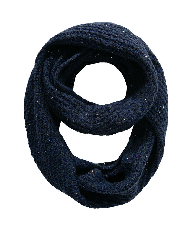 Sequined Knit Eternity Scarf, Ink Blue, hi-res