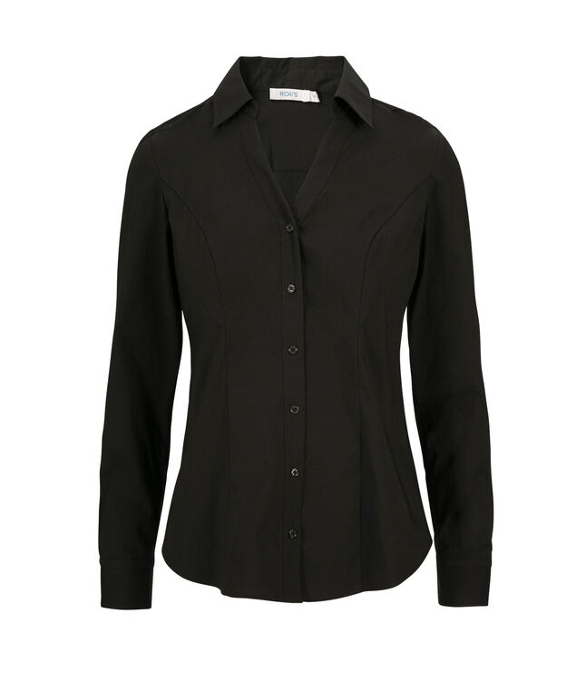 Structured Collar Blouse, Black, hi-res
