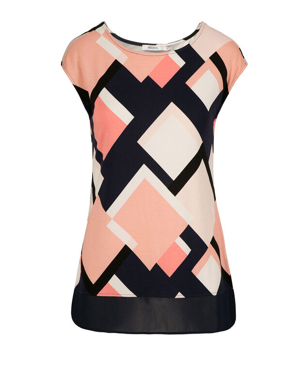 Extended Sleeve Chiffon Trim Top, Peach Pattern, hi-res