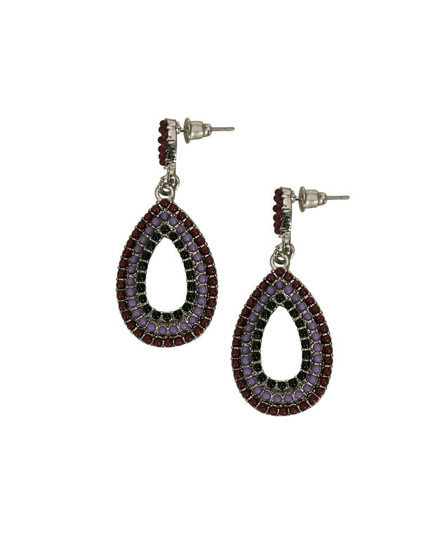 Beaded Teardrop Earring, Blackberry/Purple/Black/Rhodium, hi-res