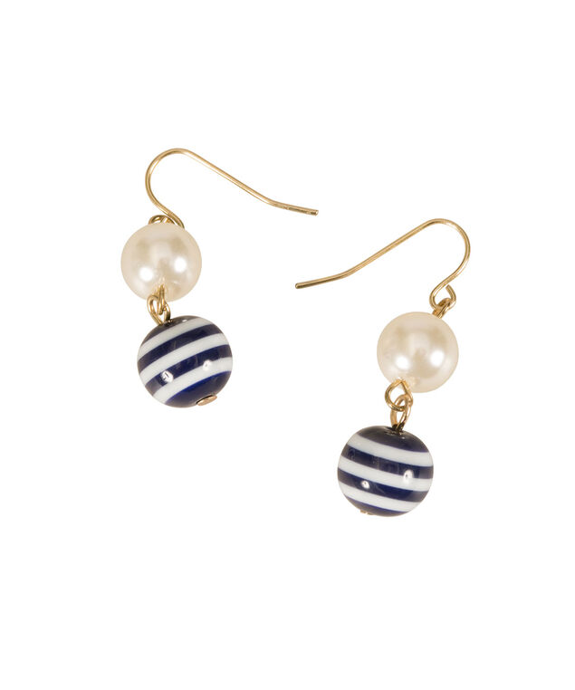 Striped Bead & Pearl Earrings, Navy/White/Pearl, hi-res