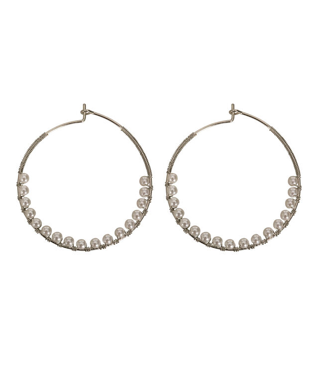 Pearl & Wire Wrapped Hoop Earring, White/Rhodium, hi-res