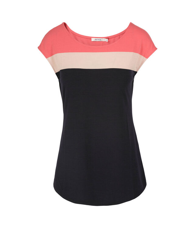 Extended Sleeve Scoop Neck Tee, Navy/Coral, hi-res