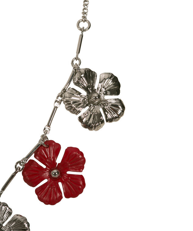 Painted Floral Mini-Statement Necklace, Red/Rhodium, hi-res
