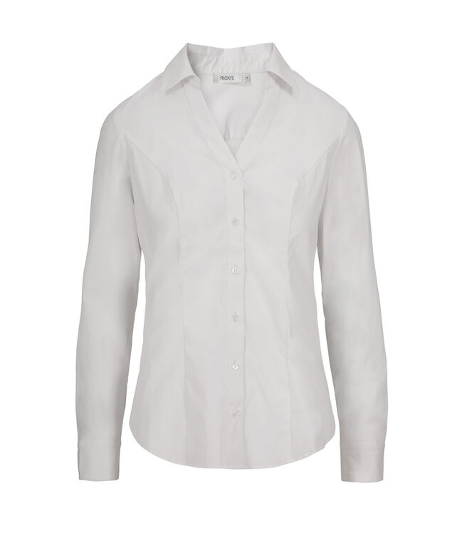 Structured Collar Blouse, White, hi-res