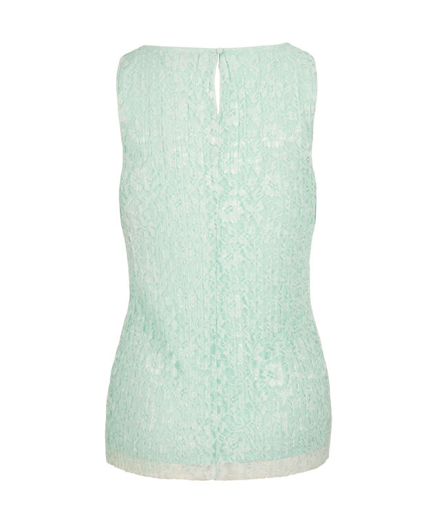 Sleeveless Pleated Lace Top, Spearmint, hi-res