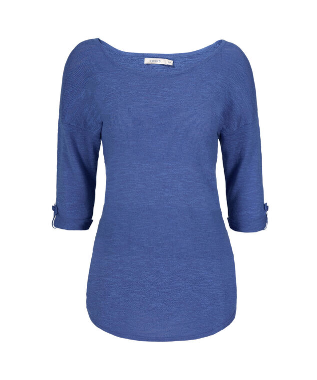 Ribbed Striped Shirt-tail Pullover, Cerulean Blue, hi-res