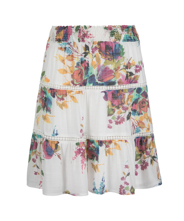 Soft Slub Floral Tiered Skirt, White Print, hi-res