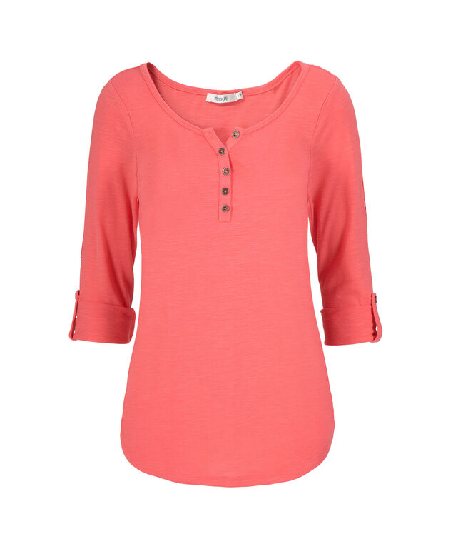 3/4 Sleeve Henley, Bright Coral, hi-res