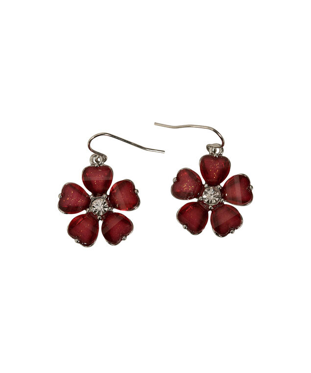 GLITTER FLOWER EARRINGS, Crimson/Rhodium, hi-res