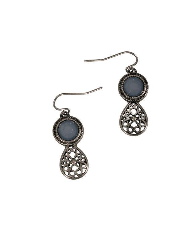 Filigree Teardrop Earring, Icy Blue/Burnished Silver, hi-res