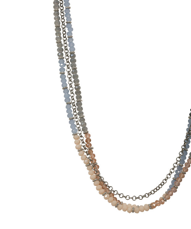 Multi-Chain Faceted Stone Necklace, Peach Blossom/Chalk Blue/Brushed Silver, hi-res