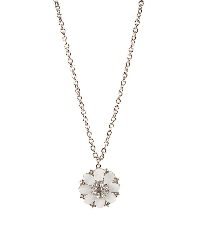 Shell Flower Necklace, White/Rhodium, hi-res