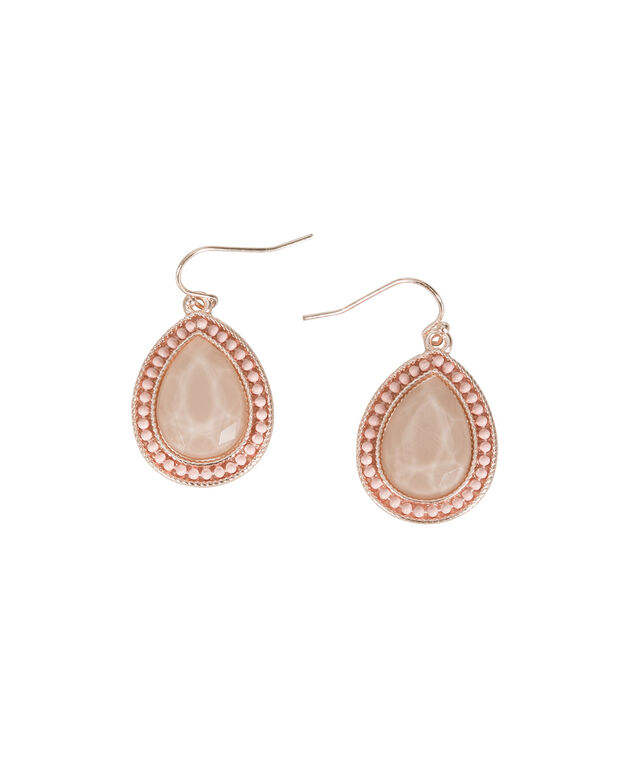 Pink Stone Earring, Soft Peach/Brushed Silver, hi-res