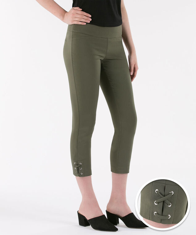Microtwill Lace-Up Hem Crop, Dark Olive, hi-res