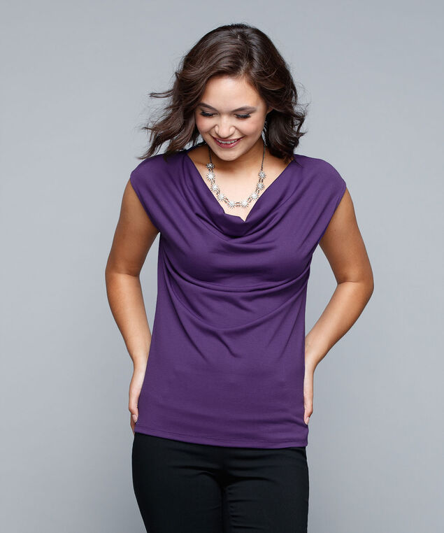 Extended Sleeve Cowl Neck Top, Royal Purple, hi-res
