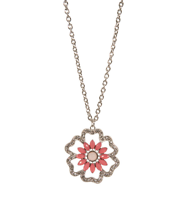 Crystal Flower Pendant Necklace, Bright Coral/Rhodium, hi-res