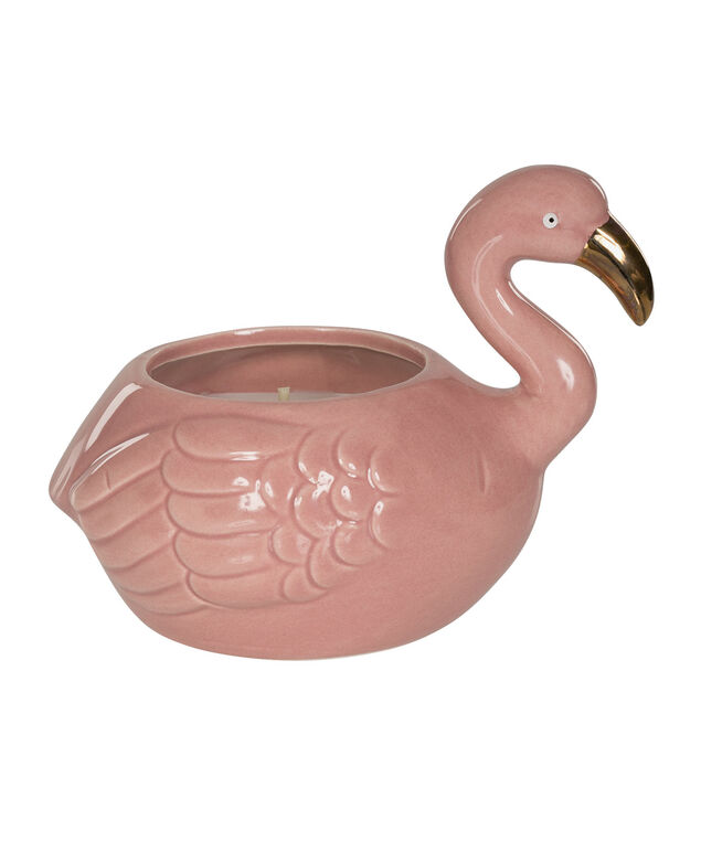 Pomegranate Cassis Scented Flamingo Candle, Pink/Gold, hi-res
