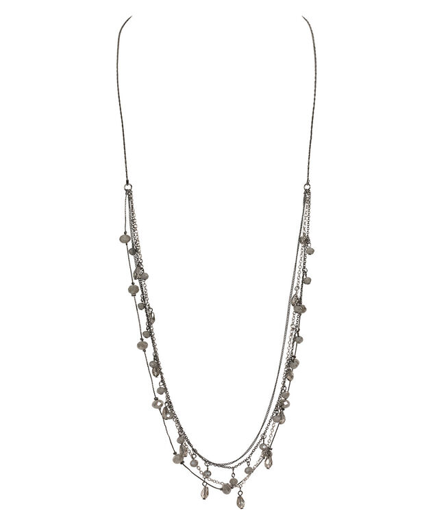 Stationed Bead & Painted Chain Necklace, Grey/Hematite, hi-res
