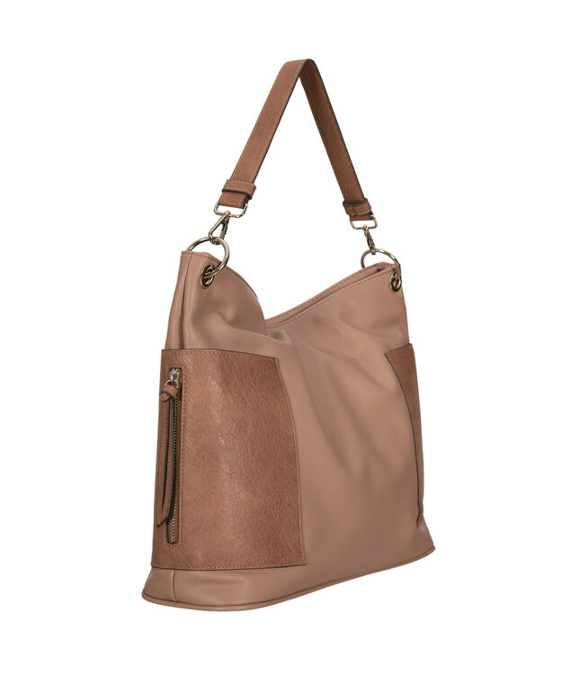 Two-Toned Soft Satchel, Dark Apricot/Apricot/Nickel, hi-res
