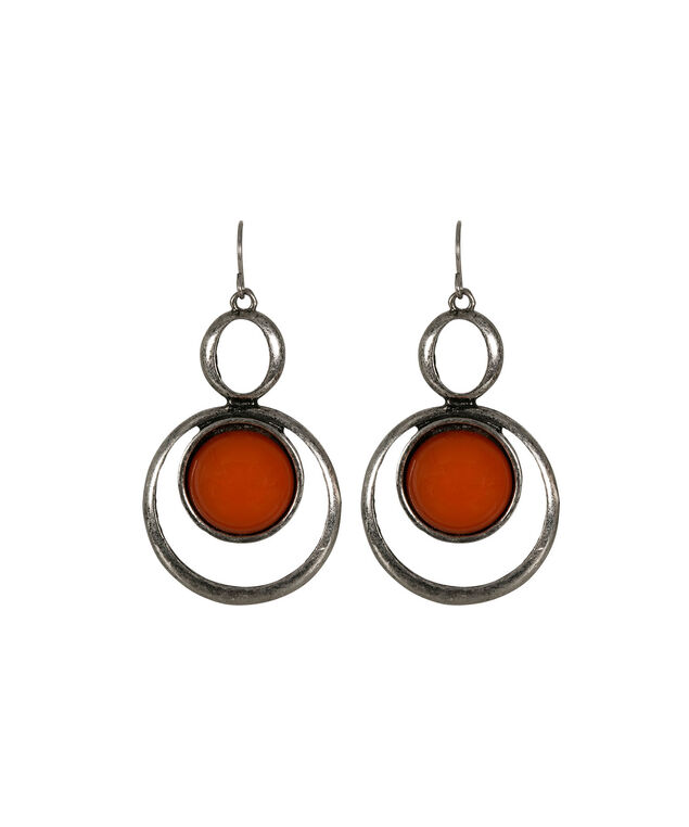Cateye Stone Circle Earring, Burnt Coral/Burnished Silver, hi-res