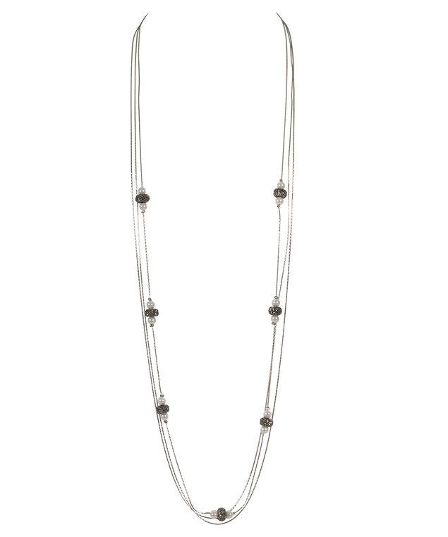 Stationed Pearl & Fireball Bead Necklace, White/Black/Rhodium, hi-res
