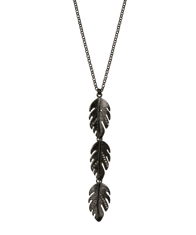 Falling Leaves Pendant Necklace, Hematite, hi-res