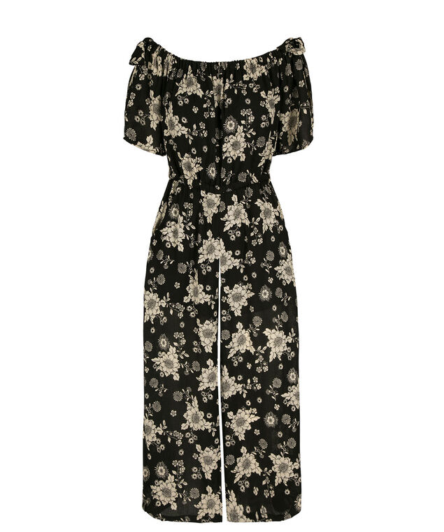 Off The Shoulder Floral Culotte Jumpsuit, Black/White, hi-res