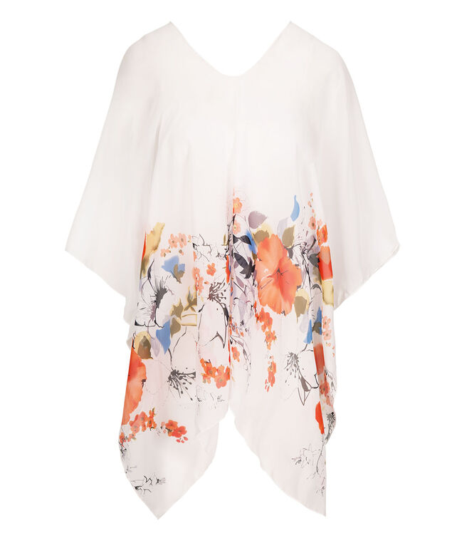 Sheer Floral Print Poncho, White/Coral/Blue, hi-res