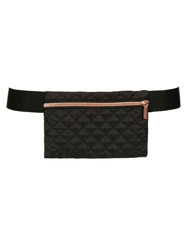 Quilted Fit Belt, Black/Rose Gold, hi-res