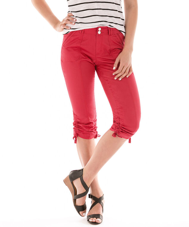 Ric-Rac Trim Ruched Capri, Red, hi-res