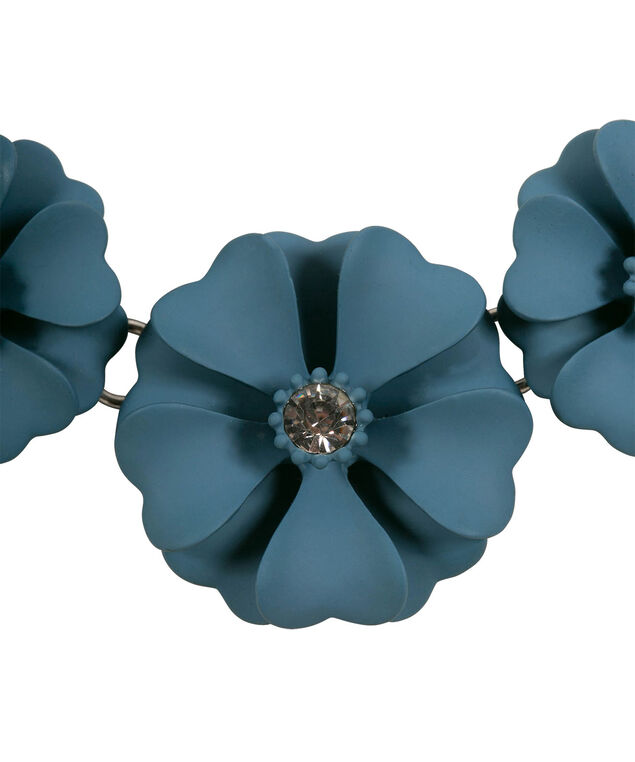 Painted Floral Statement Necklace, Midnight Teal/Rhodium, hi-res