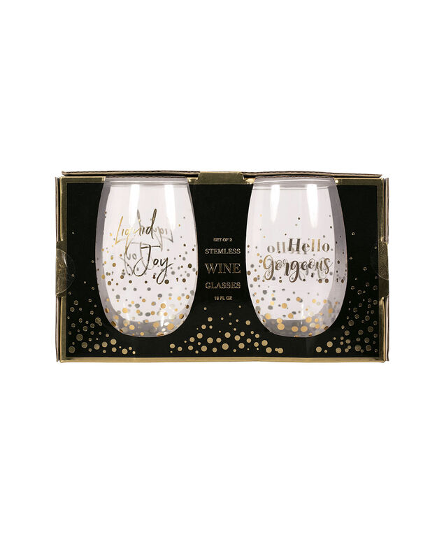 Stemless Wine Glass Set, Clear/Gold, hi-res