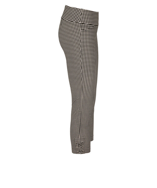 Lace-Up Bottom Crop Pant, Gingham, hi-res