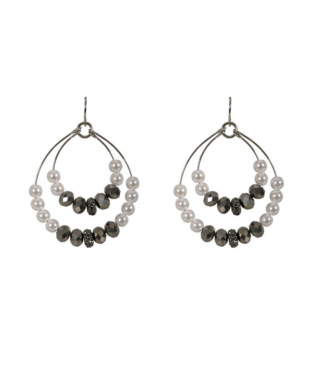 Pearl Wire Earring, White/Black/Rhodium, hi-res