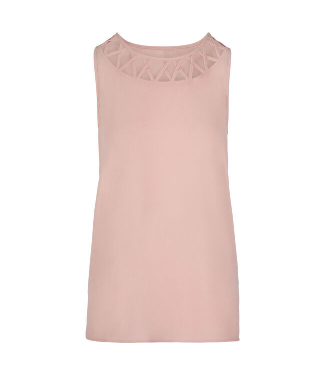 Criss-Cross Neck Detail Sleeveless Blouse, Misty Pink, hi-res