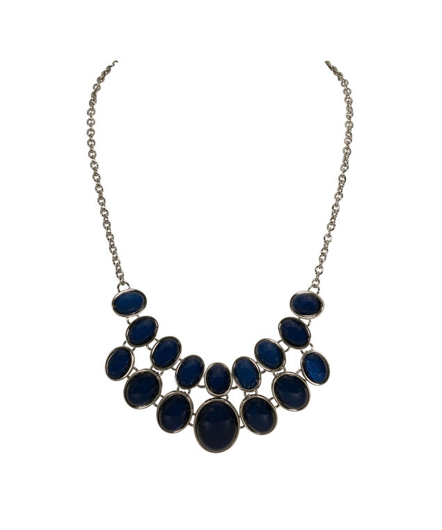 Blue Glitter Stone Statement Necklace, Blue/Rhodium, hi-res