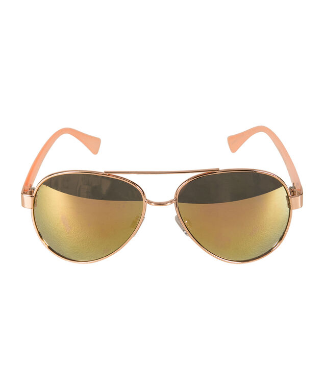 Reflective Aviator Sunglasses, Pink/Rose Gold, hi-res
