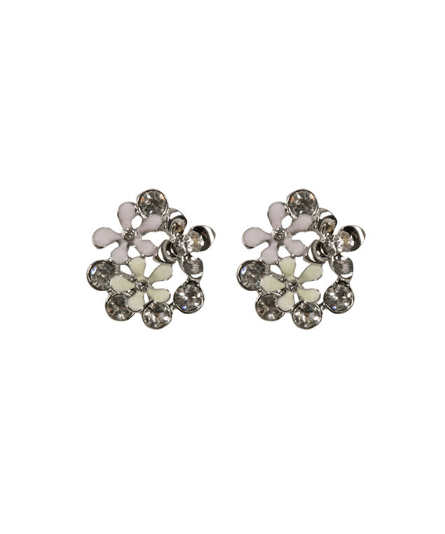 Flower & Crystal Cluster Earring , Rosewater/Spearmint/Rhodium, hi-res