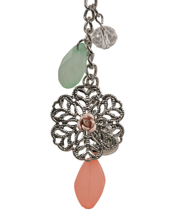 Beaded Flower Cluster Pendant Necklace, Rose Water/Spearmint/Rhodium, hi-res